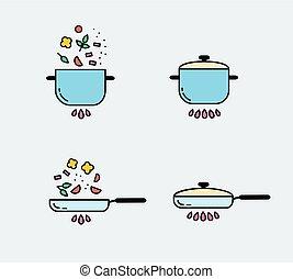 elements., ícones, alimento, set., cozinhar, preparação, desenho, linha