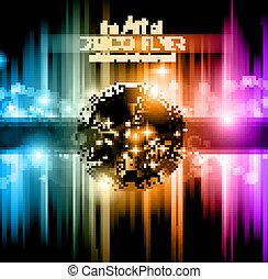 elements., カラフルである, クラブ, ポスター, 抽象的, ディスコ, バックグラウンド。, 理想, フライヤ, デザイン, たくさん, 音楽