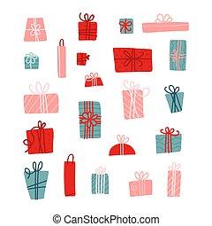 elements., コレクション, 飾られる, お辞儀をする, 幼稚, ベクトル, ribbons., スカンジナビア人, セット, 平ら, 箱, プレゼント, 手, 保温カバー, 贈り物, 単純である, イラスト, いたずら書き, 引かれる
