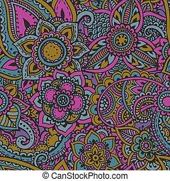 elements., パターン, henna, seamless, ベクトル, mehndi, 花