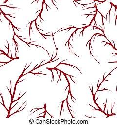 elements., ペイントされた, パターン, 木, seamless, 手, brunches, ベクトル, 背景, 引かれる