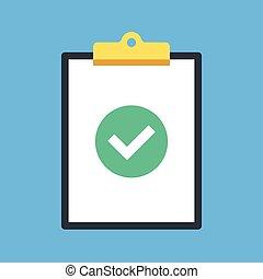elements., 現代, checkmark, される, concepts., 点検, クリップ, クリップボード, 板, 平ら, 完了された, イラスト, 仕事, 仕事, アイコン, グラフィック, mark., ベクトル, 緑, tick., デザイン, ラウンド