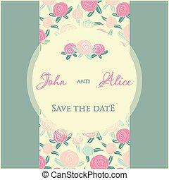 elements., 結婚式, 多彩, デザイン, 招待, 花, 低下, カード