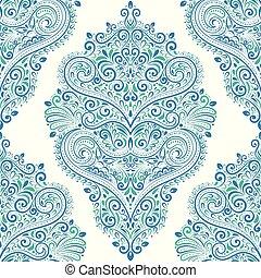 elements., 考え, 包装, 伝統的である, 民族, (どれ・何・誰)も, 青い羽布, 型, pattern., seamless, indian, motifs., 織物, ペイズリー織, トルコ語, 東, ornament., 切望された, 壁紙, 偉人, 緑, ∥あるいは∥