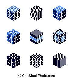 elements., 3d, set., conception, cubique, icônes, ...
