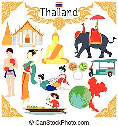 Elements about Thailand - Flat elements for designs about ...