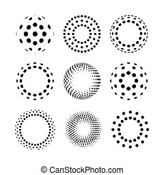 elements., abstract, icons., halftone, ontwerp, logo, cirkel