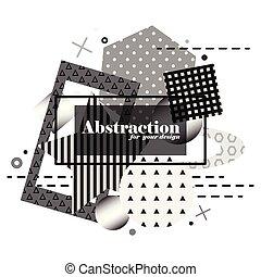 elements., abstract, moderne, geometrisch, vector, achtergrond, monochroom