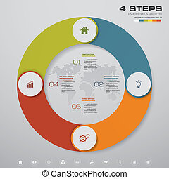 elements., abstract, tabel, stappen, 4, infographics, cirkel