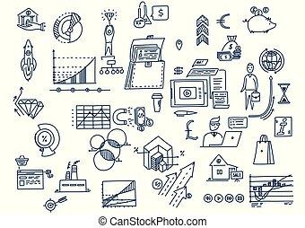 elements., affari, scarabocchiare, mano, simboli, pianificazione, disegnato