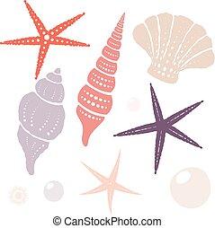 elements., aislado, colección, vector, diseño, marina