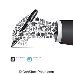 Elements are small icons Finance make in active businessman hand with pen shape.Vector illustration. concept