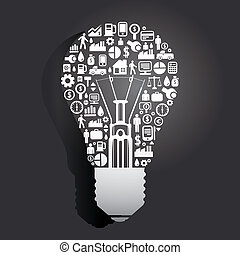 Elements are small icons Finance make in Light bulbs concept .Vector illustration.