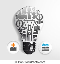 Elements are small icons Finance make  light bulb think concept .Vector illustration. / can be used for infographics/ graphic or website layout vector