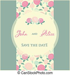 elements., boda, multicolor, diseño, invitación, floral, ...