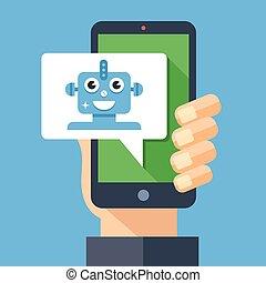 elements., chatbot, modern, robot., design, virtuell, unterhaltung, bot, persönlich, concept., langer, vortrag halten , besitz, intelligent, wohnung, smartphone, abbildung, hand, schatten, grafik, assistent, blase, vektor