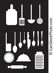 elements kitchen isolated over black background. vector