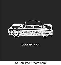 elements., classico, automobile., design., stati uniti, vendemmia, isolato, fondo., nero, retro, automobilistico, disegnato, bianco, casato, emblema, auto, simbolo, theme., mano, fondo, automobile, americano, icon.