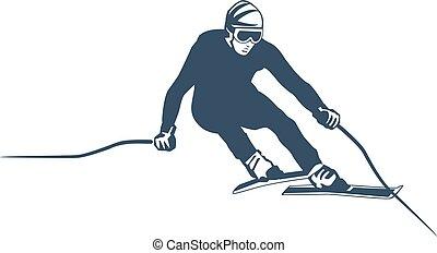 elements., club, set., étiquettes, recours, vecteur, ski, logo, snowboarding, emblèmes, ski, insignes, extrême