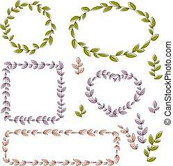 elements., collection, floral, vecteur, conception, cadres