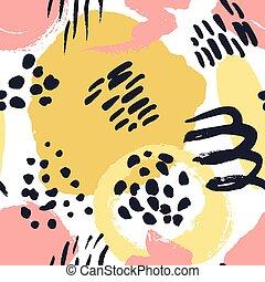 elements., coloridos, pintado, pattern., seamless, textura, mão, aquarela, vetorial, points., desenhado