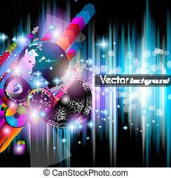 elements., colorito, club, manifesto, astratto, discoteca, fondo., ideale, aviatore, disegno, lotto, musica