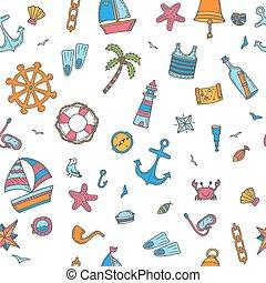elements., couleur, modèle, seamless, icons., main, symboles, nautique, dessiné, marin