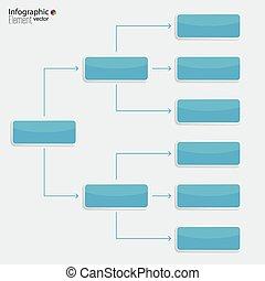 elements., diagramme, gabarit, organisation, constitué, rectangle