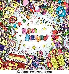 elements., doodle, groet, jarig, achtergrond, vrolijke , kaart, viering
