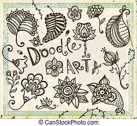elements., doodle, set., vetorial, desenho, floral