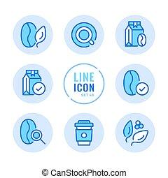 elements., egyszerű, modern, ütés, minőség, design., symbols., pantalló, ikonok, set., kávécserje, eldobható, egyenes, grafikus, áttekintés, csésze, konzervál, ellenőrzés, vektor, bab, híg, kerek