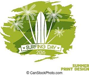 elements., elkezdődik, jelkép, tervezés, tinta, legjobb, háló, -, szünidő, címke, fél, jelvény, nap, hullámtörés, embléma, hullámlovas, póló, grafikus, nyomtat, surfboard., vízfestmény, szörfözás, nyomdászat, vektor, splash., vagy