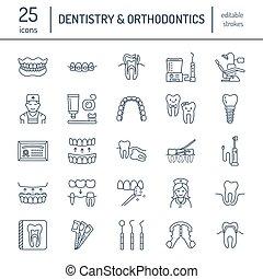 elements., equipamento, clínica, cariado, sinais, odontólogo...