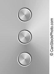 elements., experiência., metal, isolado, botões, realístico, vetorial, desenho