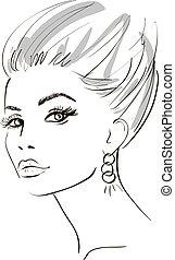 elements., face., ilustração, vetorial, desenho, menina