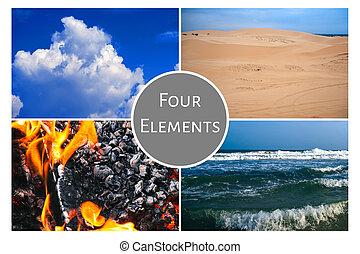 elements:, fogo, ar, água, conceito, quatro, terra