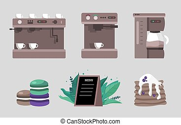 Elements for a coffee shop - a set of different coffee machines and macaroon desserts and pancakes with berries. Vector illustration in flat and cartoon style.