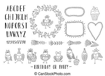 Elements for creating greeting cards, invitations with frames, flowers, font and birds.