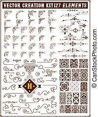 Elements for design. Corners, accents and patterns set