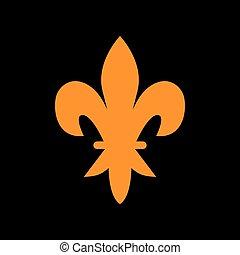 Elements for design. Orange icon on black background. Old phosphor monitor. CRT.