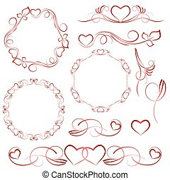 Elements for design with heart patterns