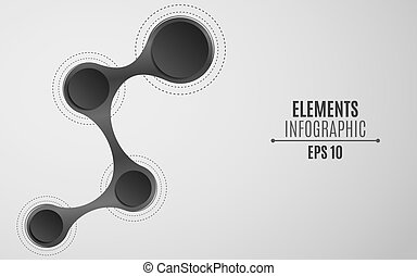 Elements for infographics in the style metaball. An empty space for your web, business projects. Paper circles are black with a shadow. Vector illustration