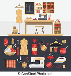 Elements for knitting and sewing. - Collection of elements...