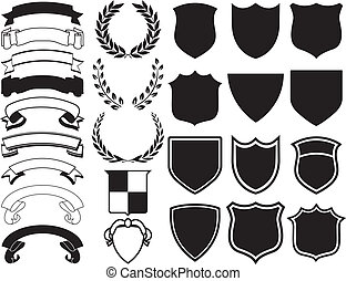 Elements for Logos - Ribbons, Banners, Laurels, and Shields....