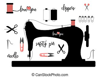 Elements for sewing isolated on white background with calligraphic lettering