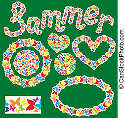 Elements for summer or spring design. Word SUMMER; round, oval, heart frames are made of butterflies silhouettes.