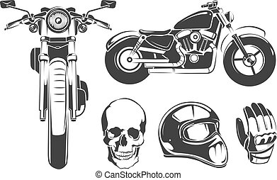 Elements for vintage vector motorcycle labels