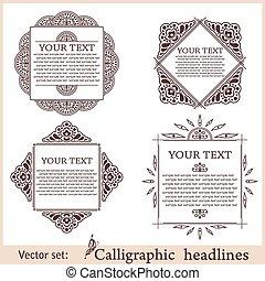 elements., frame, illustratie, calligraphic, vector, ontwerp