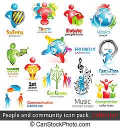 elements., gens, vol., icons., vecteur, conception, communauté, 2, 3d