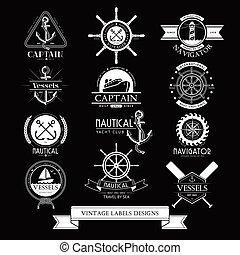 elements., icônes, vendange, étiquettes, vaisseaux, conception, nautique